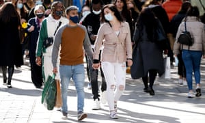 Shoppers on Oxford Street in London after coronavirus measures were eased