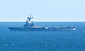 French aircraft carrier Charles de Gaulle seen off the coast of Denmark in March.