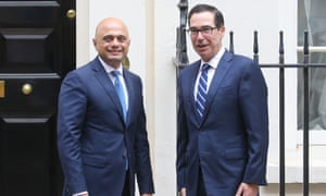 Britain's Chancellor of the Exchequer Sajid Javid poses with US Treasury Secretary Steve Mnuchin outside 11 Downing Street in central London on August 27, 2019.