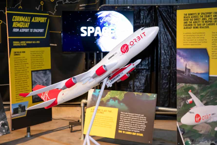 A model of the 747 aeroplane, nicknamed Cosmic Girl, which will carry the Launcher One rocket beneath one of its wings.