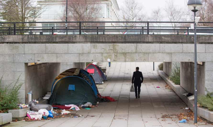 Homeless people's tents in Milton Keynes