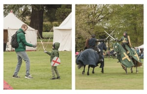 The clash of swords. A father and son have a wooden sword fight and two knights meet in the main arena