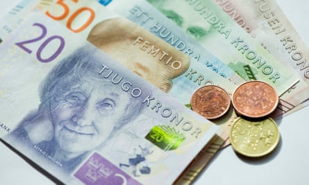 The Swedish banknotes issued last year: circulation of the krona has fallen sharply as electronic payment takes over.