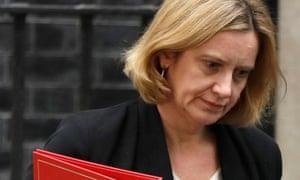 Amber Rudd leaving 10 Downing Street in London.