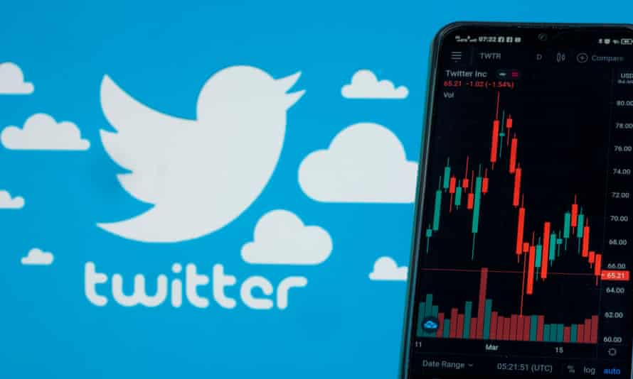Twitter's logo and a phone screen