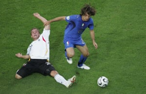 Pirlo in action for Italy against Germany in the 2006 World Cup semi-final.