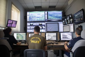 The control room of a new surveillance system in in Nea Vyssa, Greece.