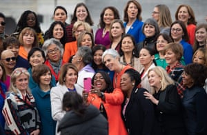 Nancy Pelosi takes a selfie with female House Democratic members outside the US Capitol.