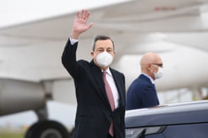 Mario Draghi, the Italian prime minister, arriving at Cornwall airport in Newquay this morning ahead of the G7 summit