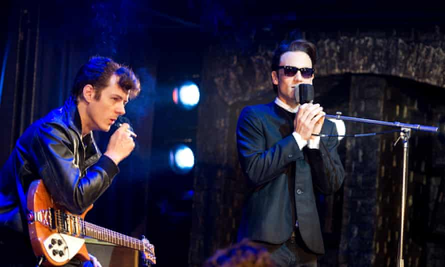 Andrew Knott as John Lennon and Nick Blood as Stuart Sutcliffe in the rock and roll show Backbeat, Jeffreys' stage adaptation of Ian Softley's film, at the Duke of York's, 2011.