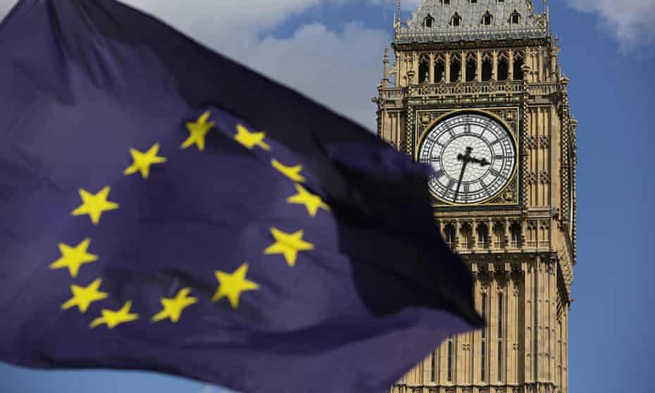 EU flag and the Elizabeth Tower.
