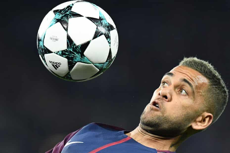 Dani Alves in action for PSG in the Champions League.