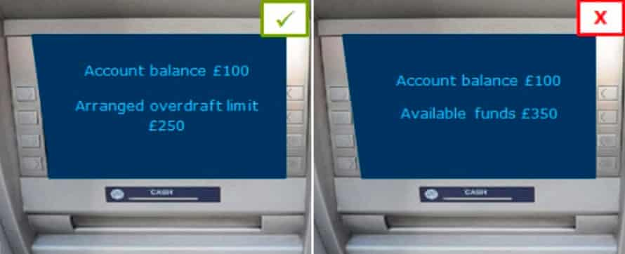 Cash machine screen with overdraft message
