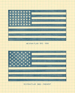Sketches of two US flags.