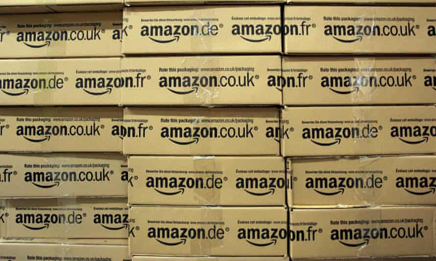 Amazon parcels stacked up high