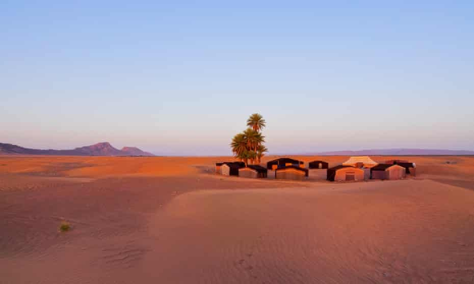 Oasis and camp in the Zagora area of Morocco.