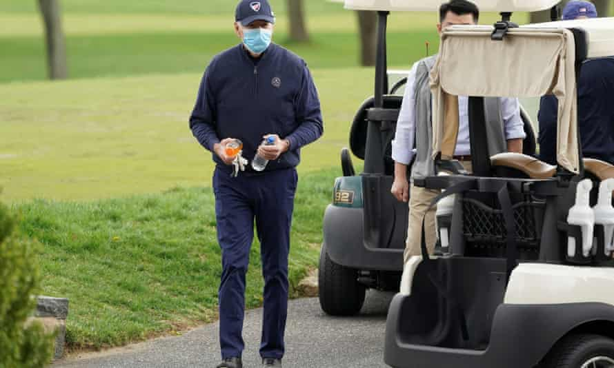 President Joe Biden finishes a round of golf in Wilmington, Delaware, on Saturday.