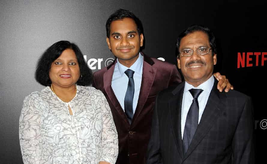 Ansari with his parents, Fatima Ansari, Aziz Ansari and Shoukath Ansari at the Master Of None New York premiere.