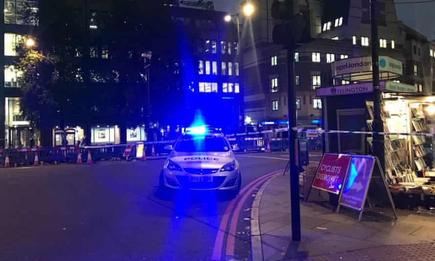 Police cordon at tube station