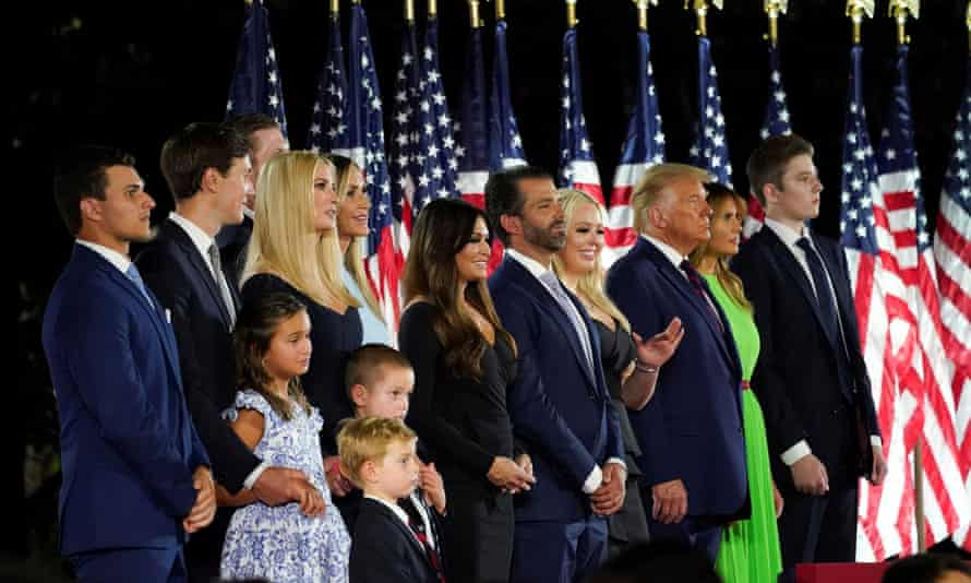 Donald Trump and his family at the White House on the final day of the Republican national convention, 27 August 2020.