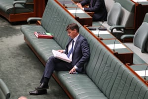 The minister for emissions reduction Angus Taylor before question time.