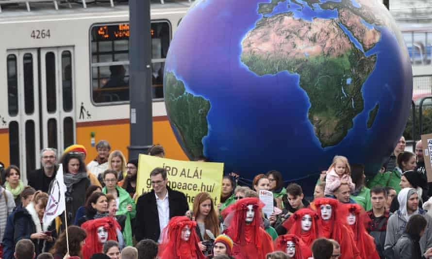 Budapest's new mayor, Gergely Karácsony (in black coat), joining protesters calling for climate protection on Friday.