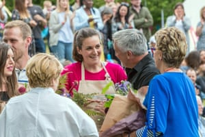 Sophie Faldo, centre, won the Great British Bake Off 2017