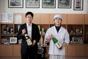 Yasuaki Konno, right, director of brewing at Suisen Shuzo, with general director Yuki Murakami.