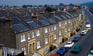Solar panels on residential houses in Southwark, South London