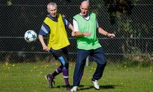 Men during a football training session for seniors