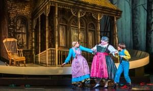 Jennifer Davis (Gretel), Gerhard Siegel (Witch) and Hanna Hipp (Hansel) in Hansel and Gretel at the Royal Opera House.