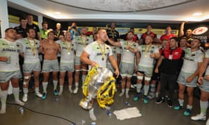 Richard Barrington of Saracens leads the celebrations after their victory over Exeter Chiefs in last year's Aviva Premiership Final.
