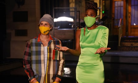 Justin Bieber and Issa Rae during promos.