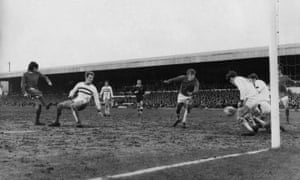 This George Best effort was blocked but from the rebound he scored his third goal in the mud at the County Ground.