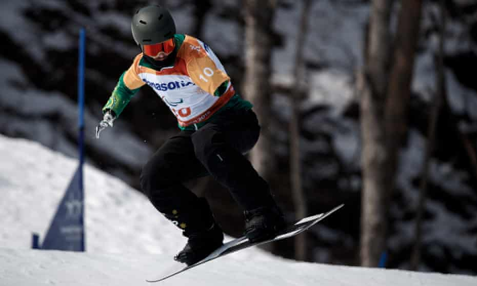 Sean Pollard competes during the Men's Snowboard Cross run at the Pyeongchang Winter Paralympics