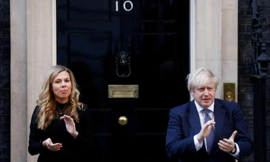 Carrie Symonds and Boris Johnson during a Clap for Carers at Downing Street, London, May 2020
