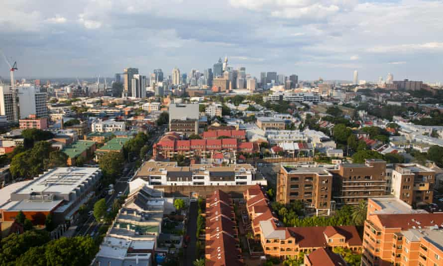 aerial view of housing rooftops over sydney