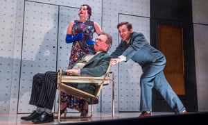 Lucy Cohu as Helen Hobart, with Enfield as Glogauer and Kevin Bishop as Jerry Hyland.