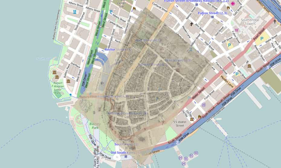 A map of 1660s Manhattan overlaid on modern New York shows how much of the city's land is manmade.