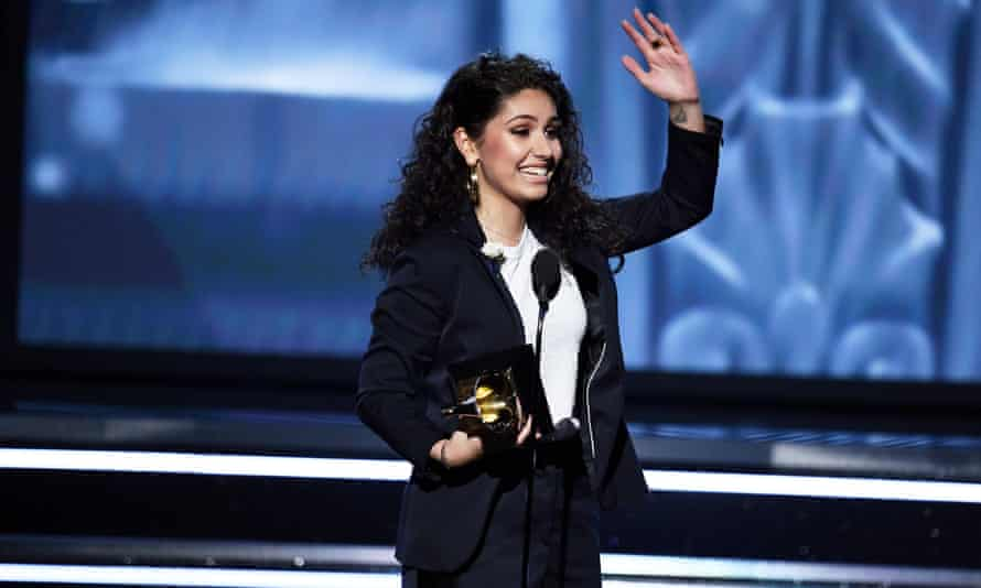 Alessia Cara accepts the award for best new artist at the Grammy awards in New York City.