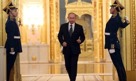 Vladimir Putin at the Grand Kremlin Palace in Moscow.