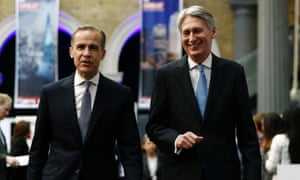 The governor of the Bank of England, Mark Carney, and the chancellor, Philip Hammond, arrive at a conference in London.