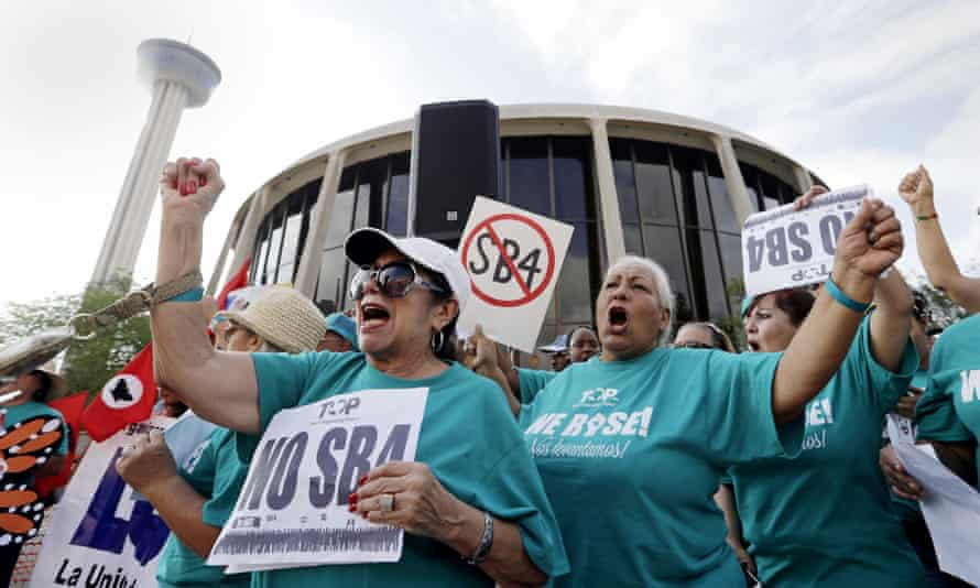 A protest against a new sanctuary cities bill outside the federal courthouse in San Antonio.