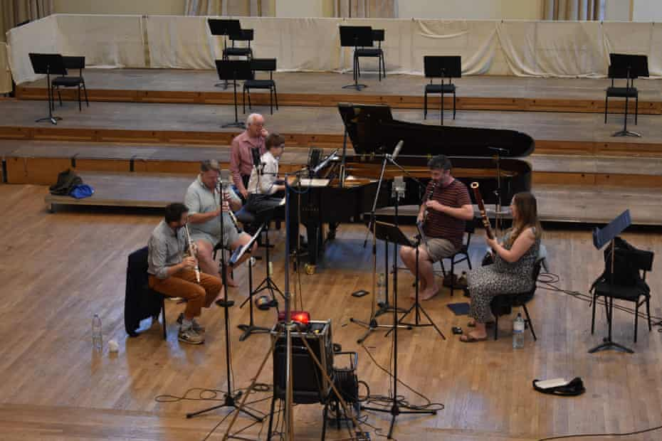 The Orsino Ensemble and Pavel Kolesnikov recording Belle Époque at the Henry Wood Hall in Southwark, London, July 2020.