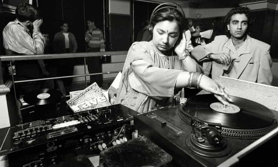 Rani Kaur, aka DJ Radical Sister, mixing records at a day timer in the 90s.