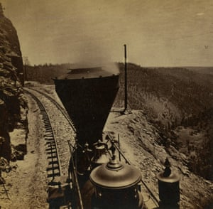 Rounding Cape Horn, California. Road to Iowa Hill from the River, in the distance, ca. 1866 (half of a stereograph)