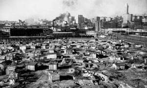A 'Hooverville' collection of unemployed people's shack dwellings in Seattle, Washington, in 1933.