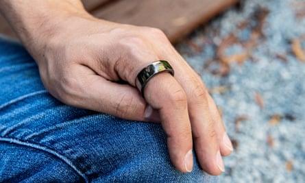 A closeup of a smart ring which measures Faguet's sleep patterns