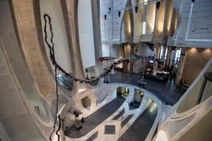 A sculpture by South African artist Nicholas Hlobo dominates the main hall in the Zeitz-Mocaa in Cape Town, South Africa.