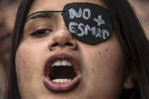 Medellin, ColombiaA university student shouts slogans during a demonstration calling for the anti-riot police force to be dismantled.